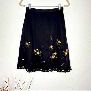 ANTHROPOLOGIE ODILLE Embroidered Midi Skirt